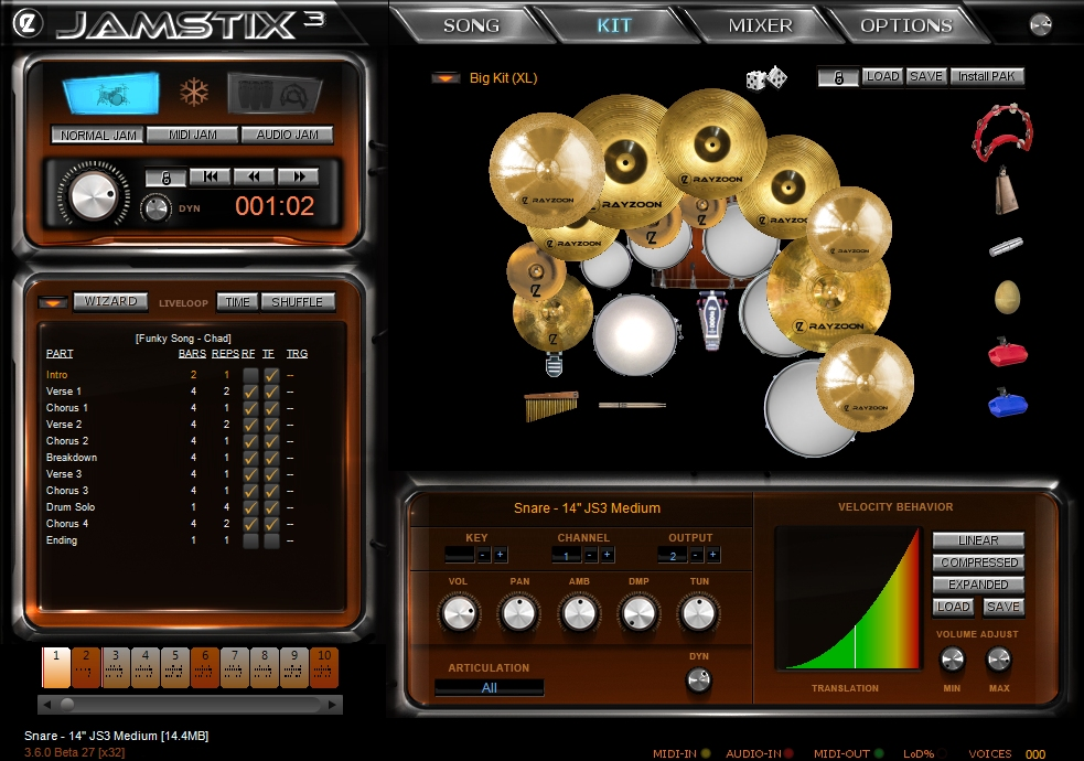 rayzoon virtual drum software jamstix virtual drummer specifications. Black Bedroom Furniture Sets. Home Design Ideas